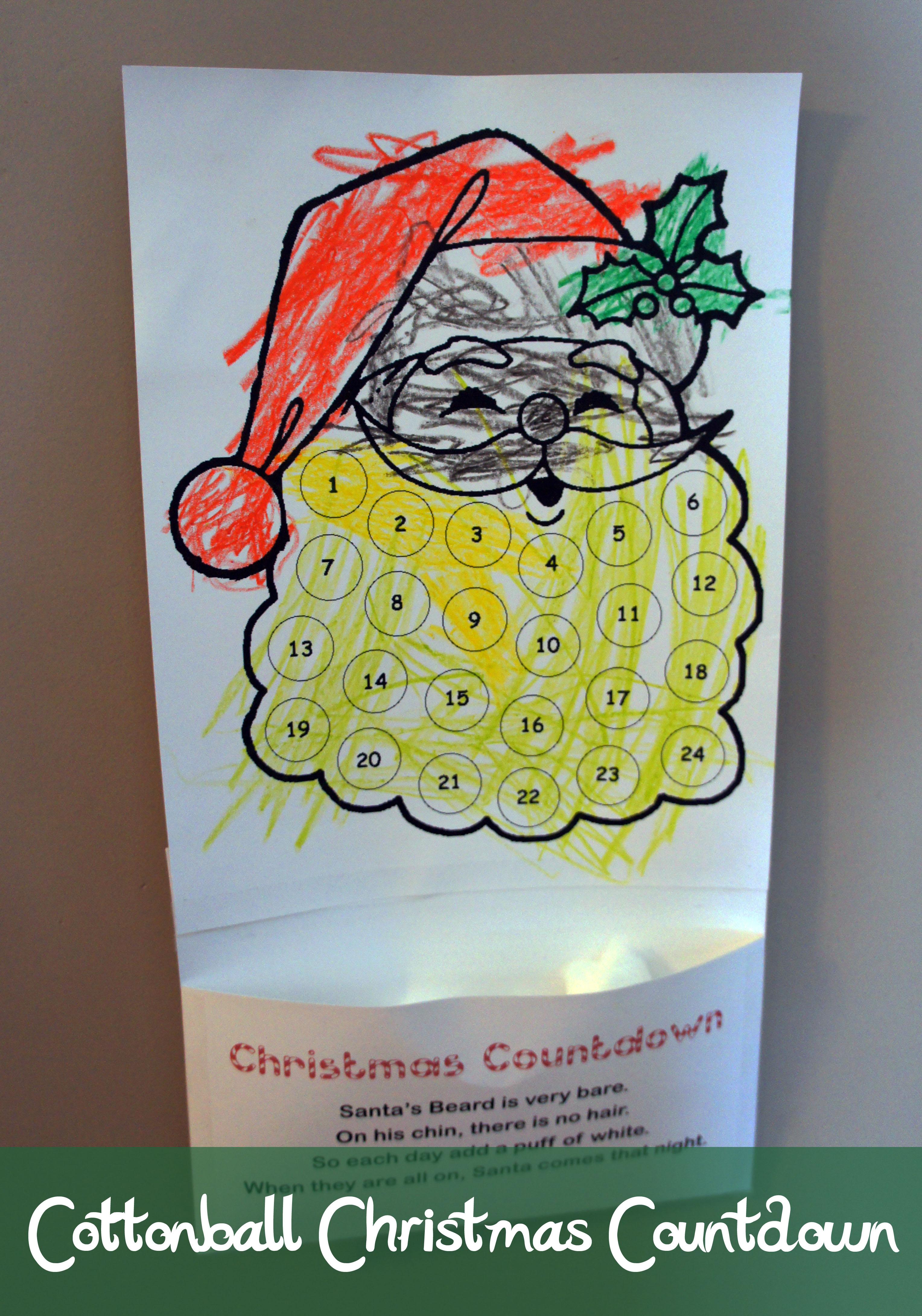 Christmas Counter.Kids Cottonball Christmas Countdown