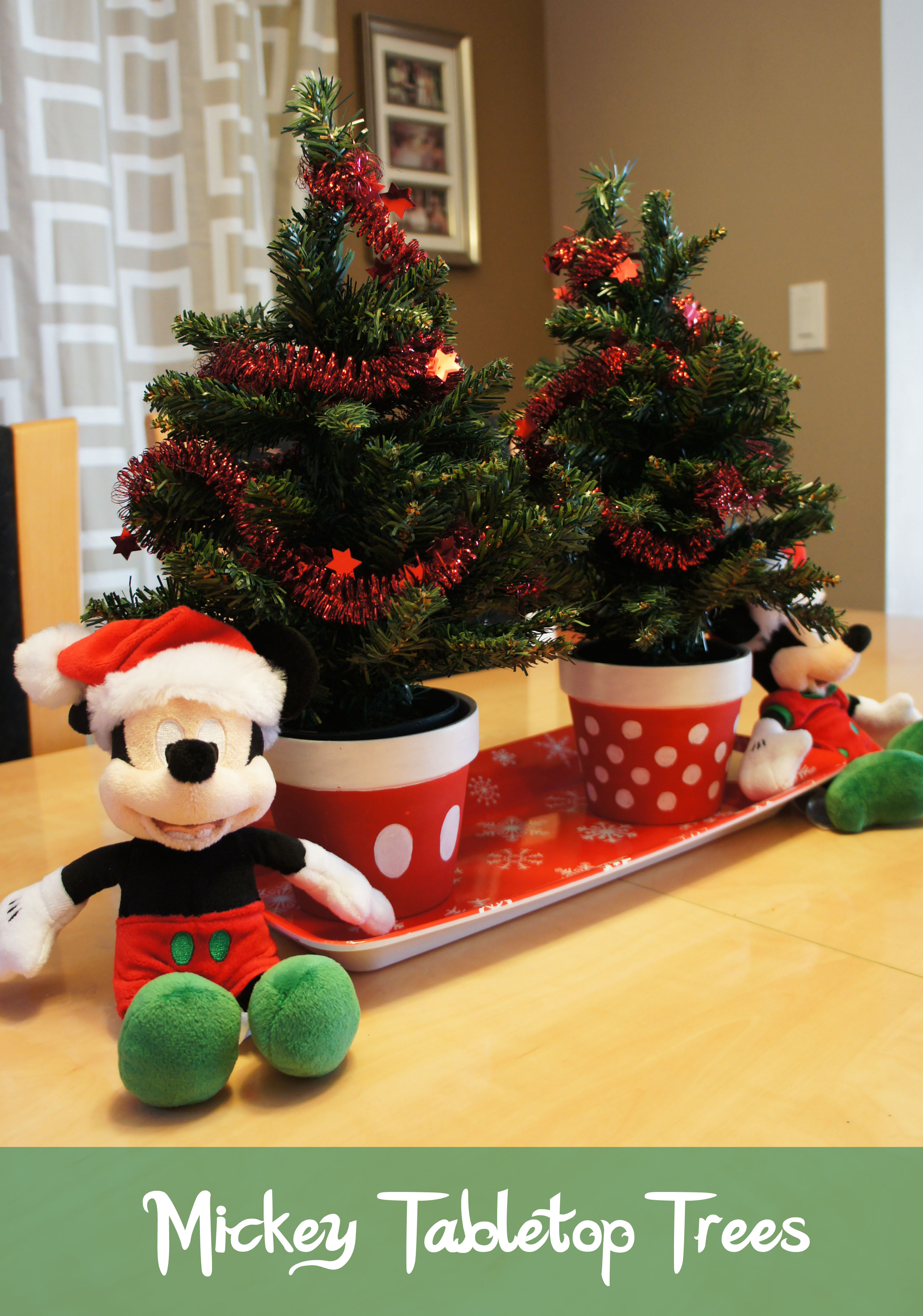 Tabletop Decorations Merry Mickey Snowman and Tabletop Trees