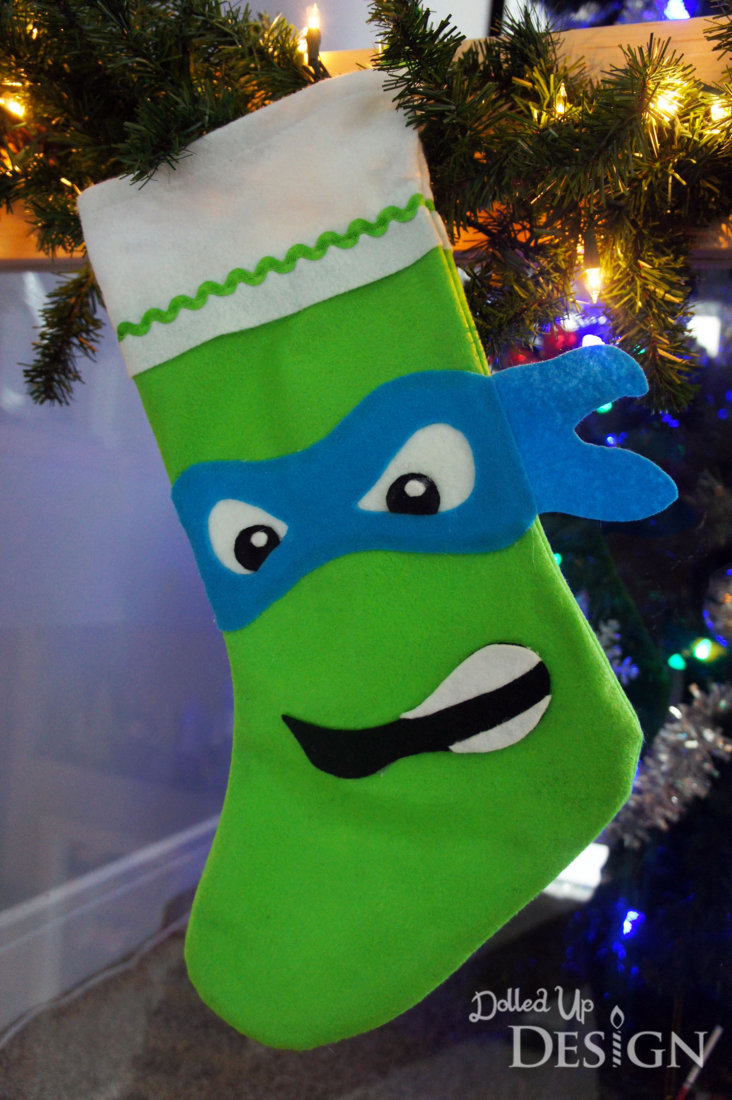 Transform a 1 felt stocking with these fun character options michelangelo is my sons favorite turtle so i am still not sure why he chose leonardo for his stocking but i was happy to oblige since he worked best with solutioingenieria Images