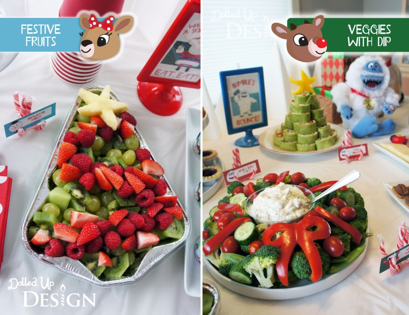 Rudolph Holiday Party Food - Festive Fruits & Veggies with Dip
