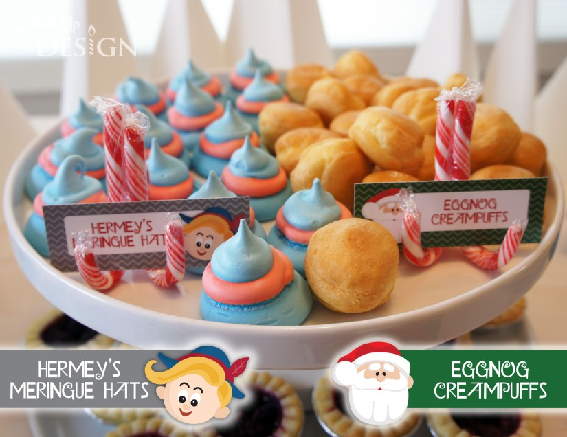 Rudolph Holiday Party Food - Hermey's Meringue Hats & Eggnog Creampuffs