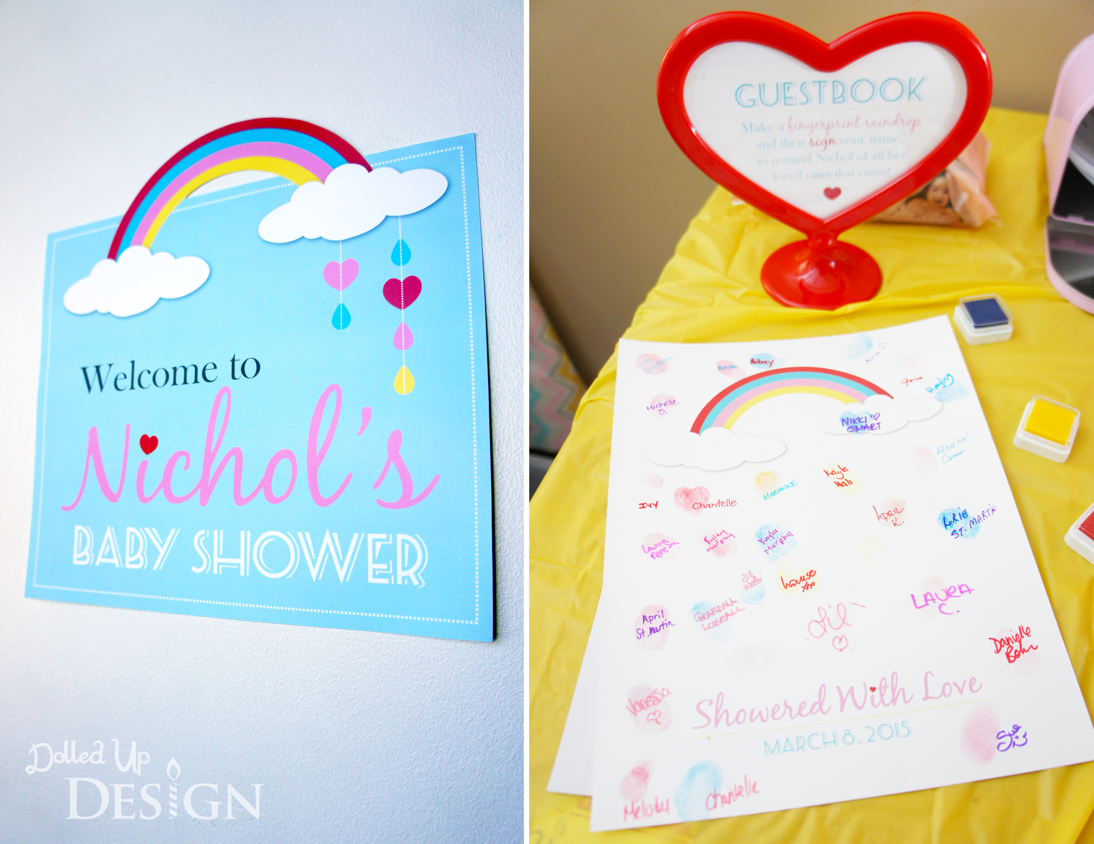 Baby Shower Ideas Guest Book ~ Raindrop fingerprint guestbook