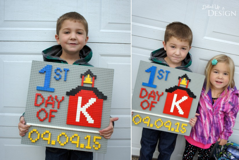 First Day of School Sign made from Lego