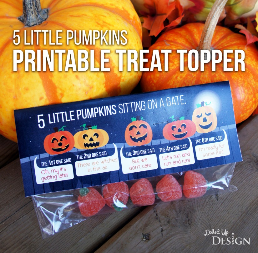 5 Little Pumpkins Printable Treat Topper