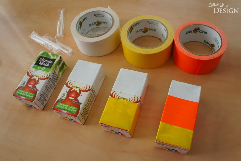 Candy Corn Juice Boxes made with Duck Tape
