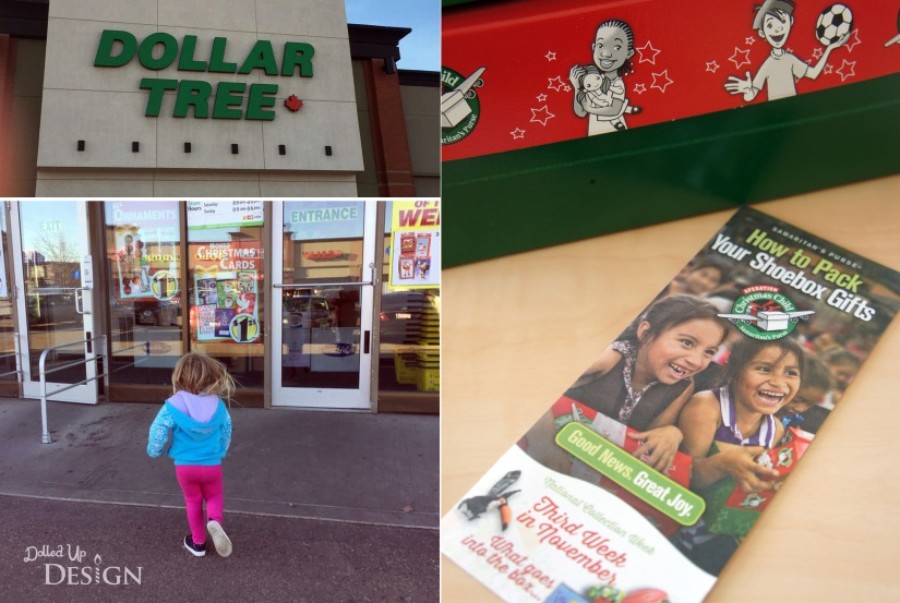 Operation Christmas Child shopping at Dollar Tree