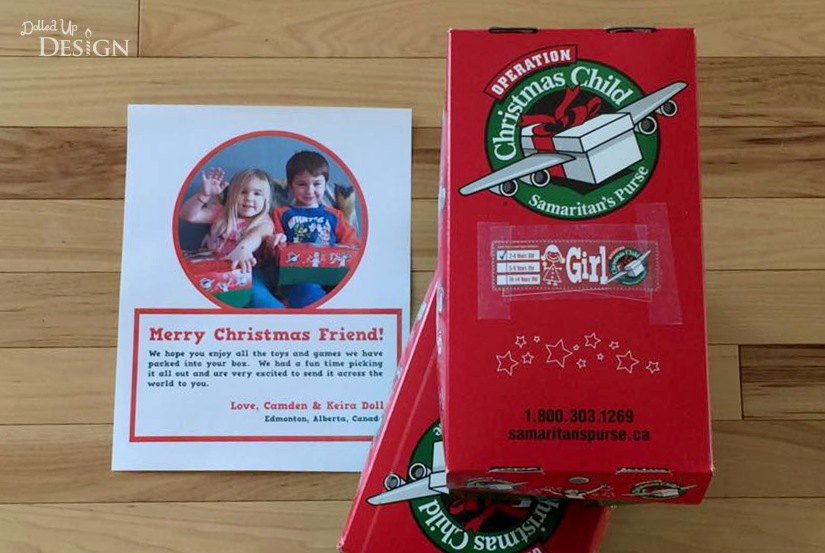 Operation Christmas Child Boxes and Letter