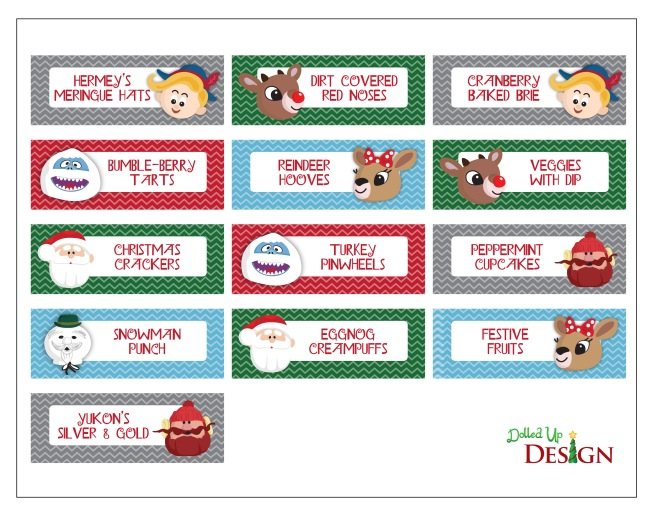 Rudolph Party Printables Food Labels