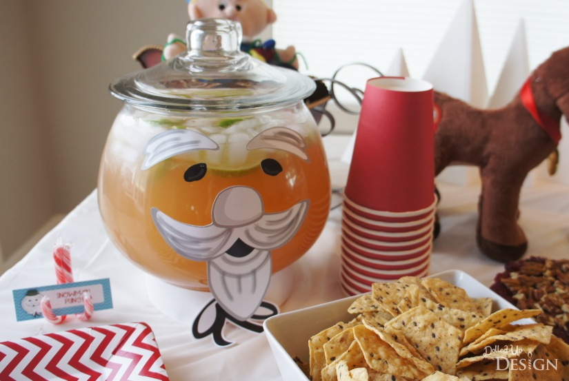Rudolph Party Printable Sam Snowman Punchbowl decorations