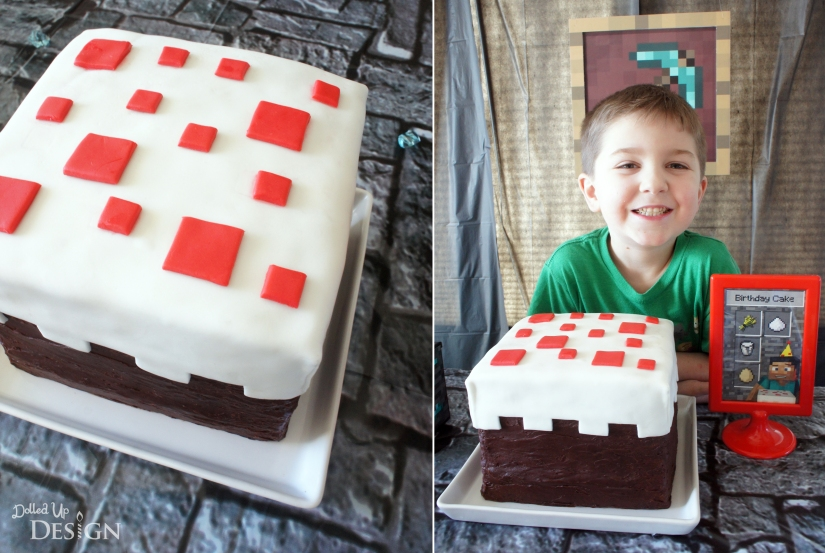 Minecraft Party Birthday Cake