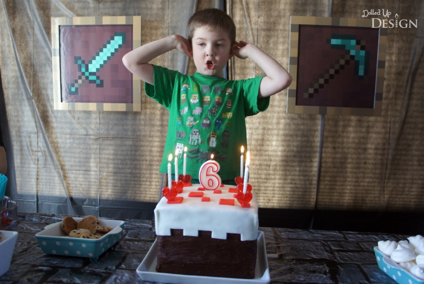 Minecraft Theme 6th Birthday Party Cake