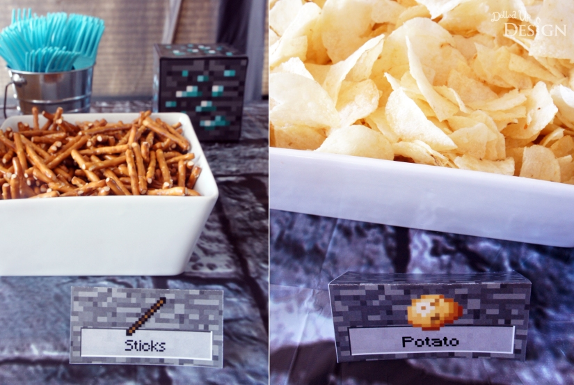 Minecraft Party Food Sticks and Potato