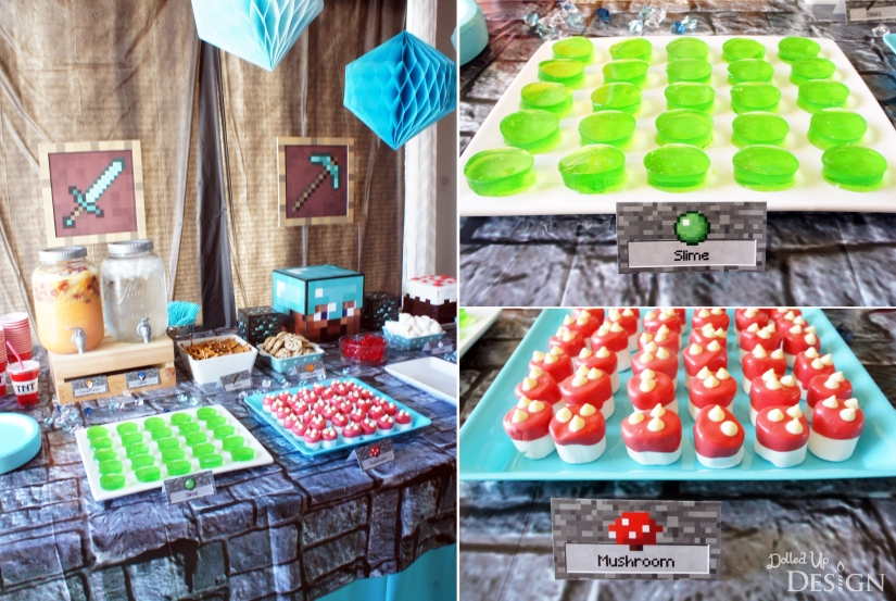 Diamond Steve Minecraft Party Table with Jello Slime and Marshmallow Mushrooms