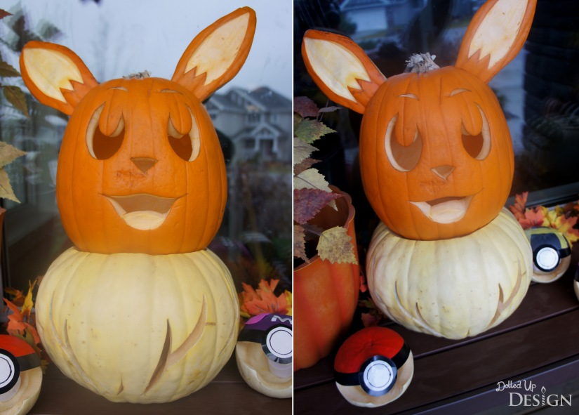 Pokemon Halloween Pumpkins_Eevee and Pokeballs