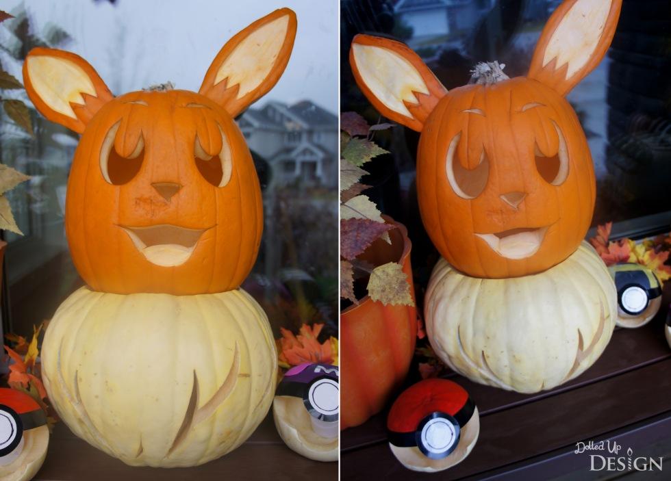 Pokemon Halloween Pumpkins_Eevee and Pokeballs