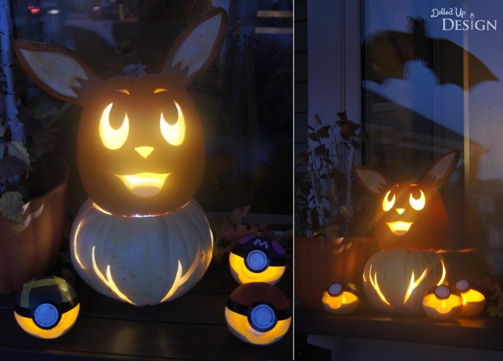 Pokemon Halloween Pumpkins_Eevee and Pokeballs Lit
