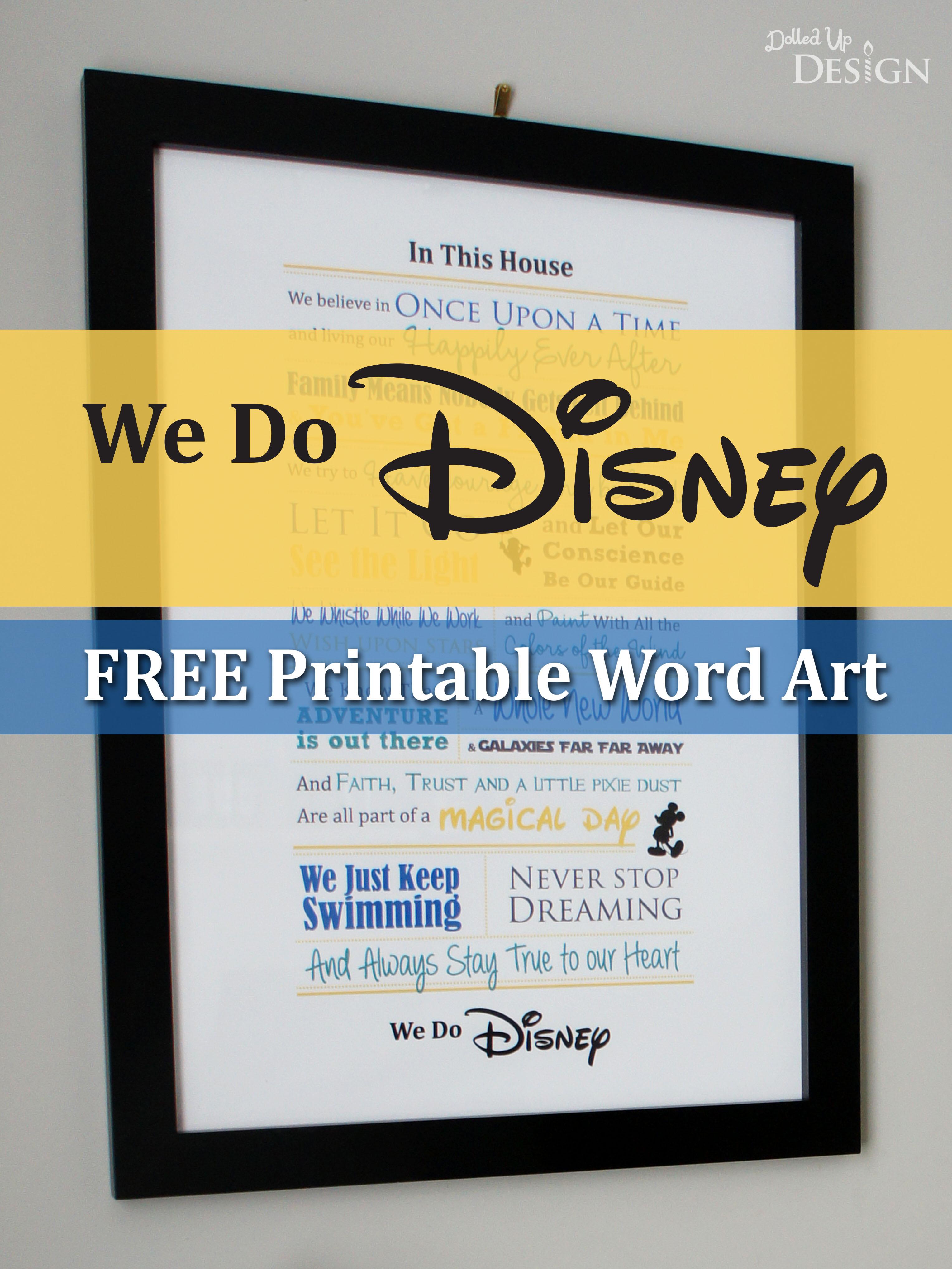 We Do Disney Free Printable Word Art