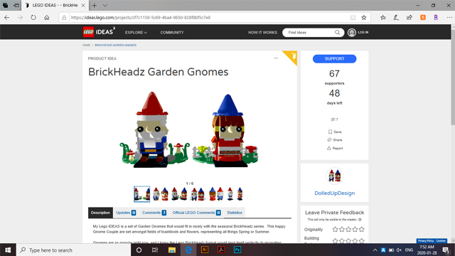 Lego IDEAS BrickHeadz Garden Gnomes Chantelle Doll